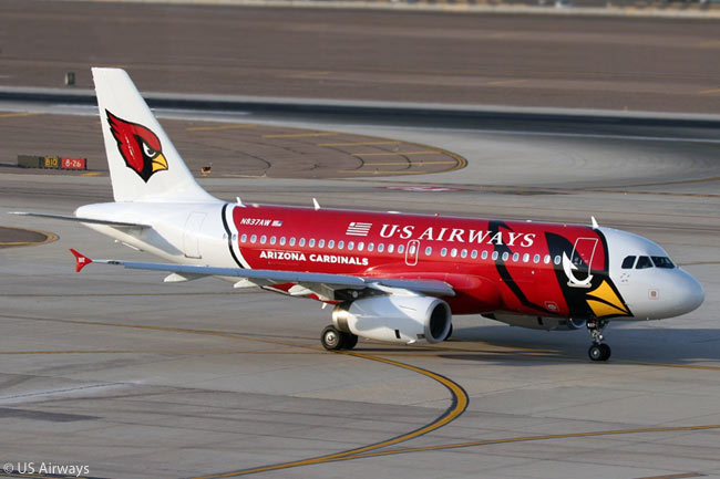 US Airways has painted a number of aircraft in special-theme liveries, including several painted to honor professional sports teams. The carrier painted this Airbus A319 to honor the Arizona Cardinals, a professional American football team in the Western Division of the National Football Conference of the National Football League