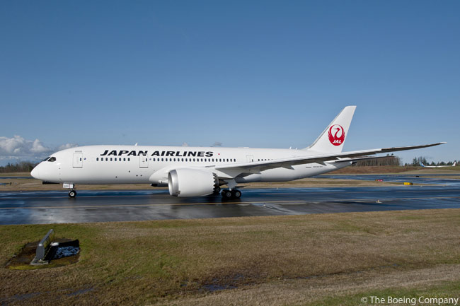 On March 26, 2012, Boeing and Japan Airlines celebrated the delivery of the airline's first two 787 Dreamliners. JAL was the first airline to take delivery of a 787 powered by General Electric GEnx engines. Shown here is a Japan Airlines Boeing 787-8 taxiing towards the runway at Paine Field in Everett, Washington