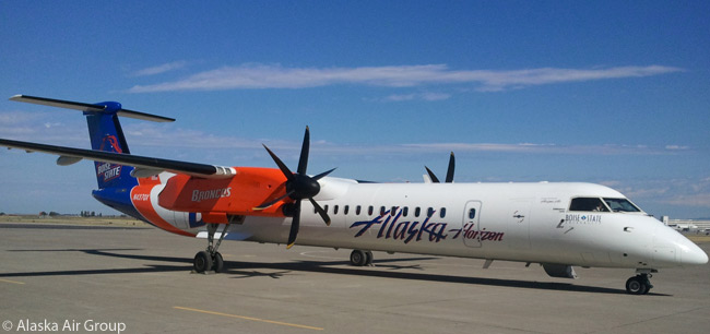 One of the many special-themed aircraft in Horizon Air's aircraft fleet is this Bombardier Q400 painted in the colors of the Boise State University Broncos football team