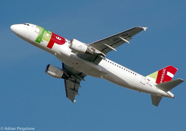 TAP Portugal Airbus A320-200 CS-TNJ takes off from London Heathrow Airport, England in January 2007