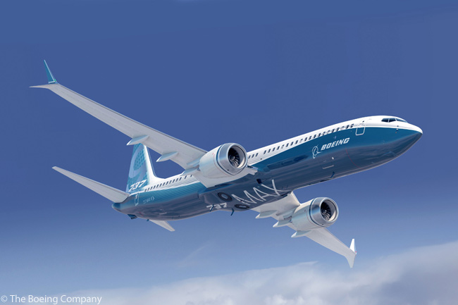Boeing's Advanced Technology winglet design for the 737 MAX family combines rake-tip technology with a dual-feather winglet concept into one advanced treatment for the wings of the 737 MAX. According to Boeing, the Advanced Technology winglet for the 737 MAX family fits within today's airport gate constraints while providing more effective span, thereby reducing drag