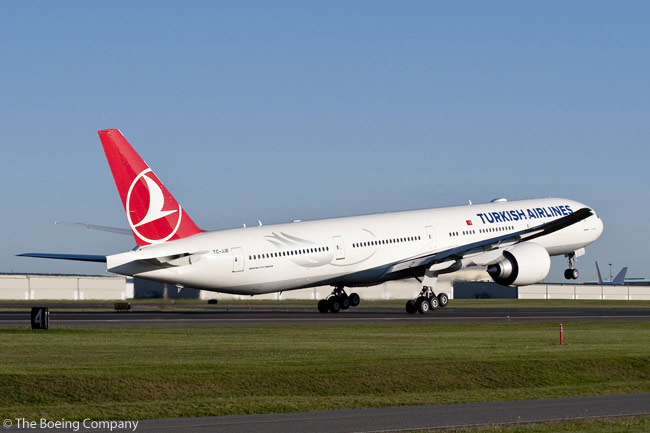 Boeing delivered Turkish Airlines' first directly purchased 777-300ER on October 13, 2010. The carrier had previously leased five 777-300ERs from India's Jet Airways on an interim basis. The aircraft delivered in October 2010 was the first of 12 Boeing 777-300ERs ordered from Boeing from 2009 and served as the platform for introducing Turkish Airlines' new 'Comfort Class' cabin for the first time. Turkish Airlines now has all 12 directly ordered 777-300ERs in service and must be considered a likely prospect for additional 777-300ER orders as it continues to grow