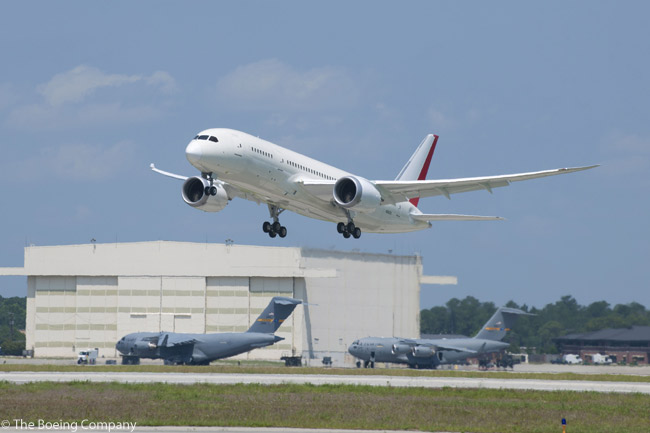 The first Boeing 787 Dreamliner built in South Carolina completed its first flight on May 23, 2012. Piloted by Tim Berg and Randy Neville, the aircraft successfully conducted a five-hour test flight