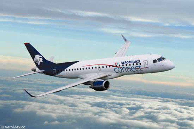 AeroMexico's regional subsidiary, AeroMexico Connect, operates an all-Embraer fleet which includes 38 50-seat ERJ-145s and 21 Embraer 190s, the 190s featuring two-class cabins with 11 business-class and 88 economy-class seats