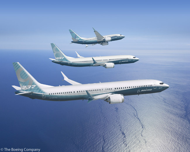 This computer graphic image shows the three members of the Boeing 737 MAX family: in the foreground, the 737 MAX 9; in the middle, the 737 MAX 8; and farthest away, the 737 MAX 7