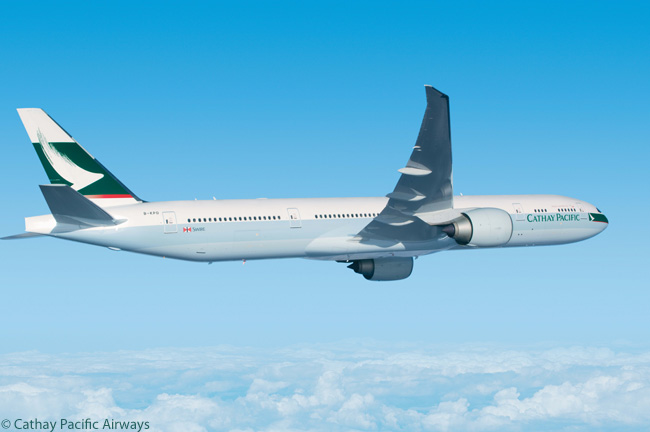 Cathay Pacific Airways has a total of 50 Boeing 777-300ERs in service and on order, as well as 12 shorter-range Boeing 777-300s
