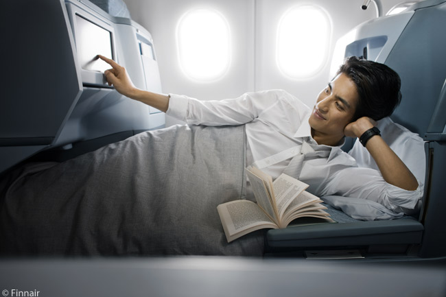 The lie-flat seats in the Business Class cabins of Finnair's four youngest A330-300s are 79 inches long when fully reclined