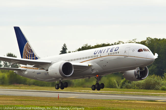 The first Boeing 787 for United Airlines made its first flight on August 19, 2012, from Paine Field next to Boeing's Everett widebody final assembly facility