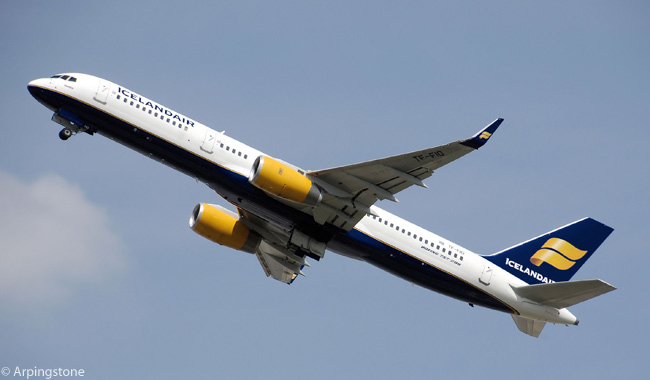 Boeing 757-200 TF-FIO of Icelandair takes off from London Heathrow Airport