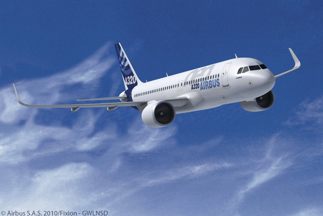 Airbus offers the A320neo family with a choice of two different engine types, the Pratt & Whitney PurePower PW1100G geared turbofan and the CFM International LEAP-1A. This computer graphic image shows an A320neo with PW1100Gs fitted. The Pratt & Whitney engine for the A320neo family has a 2-inch larger fan diameter than the LEAP-1A