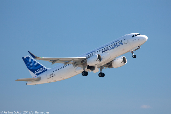 The flight-test A320 equipped with Sharklets is photographed during its rehearsal flying display before the opening of the ILA Airshow 2012 in berlin in September 2012