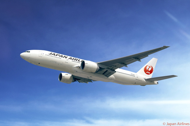 Japan Airlines has repainted all of its Boeing 777s in its new livery, which reprises JAL's classic 'Flying Crane' logo and looks like JAL's most famous and popular livery of past decades. This is a Boeing 777-200ER in the carrier's new colors