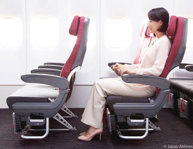 This is the JAL Sky Wider seat, a larger and longer-seat-pitch economy seat which features in the Economy Class cabins of Japan Airlines' Boeing 777-300ERs and 767-300ERs