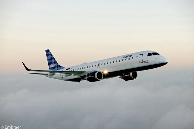 JetBlue Airways has a total of 87 Embraer 190s in service and on order. The carrier has configures its Embraer 190s with two-class cabins, a premium-economy cabin containing 16 seats and an economy-class cabin with 84 seats. All seat rows are two-by-two