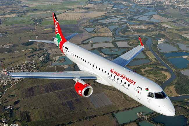 On October 10, 2012, Kenya Airways took delivery of the 900th Embraer E-Jet delivered to a customer. The milestone aircraft was an Embraer 190