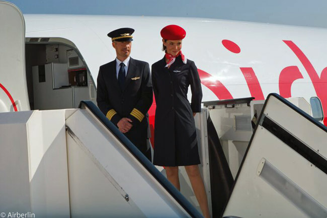 The uniforms of Airberlin's flight crews and cabin attendants are smart and stylish