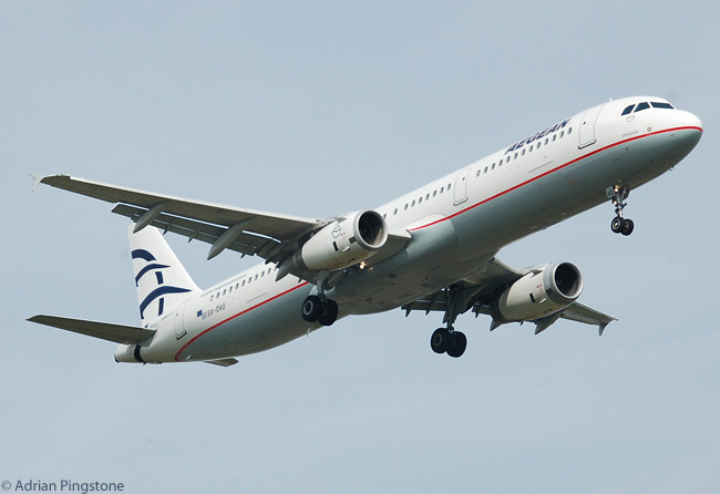 Aegean Airlines Airbus A321-200 SX-DVO lands at London Heathrow Airport in April 2010