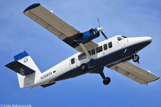 Christiansted, St. Croix-based Seaborne Airlines operates a fleet of de Havilland Canada Twin Otters on routes among the U.S. and British Virgin Islands and between the Virgin Islands and Puerto Rico. Some of Seaborne Airlines' Twin Otters have been converted to Vistaliners (like the aircraft pictured here) and operate from conventional runways, while others are fitted with floats and operate as seaplanes from the seaplane bases at Christiansted on St. Croix and Charlotte Amalie on St. Thomas