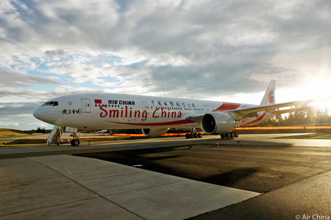 Air China received its 10th Boeing 777-300ER on October 30, 2012. To mark the milestone, the aircraft was delivered wearing a special 'Smiling China' livery, promoting the message that China is China is a confident, sincere, friendly and optimistic country, and the airline industry of China has been playing an important role in forging closer ties between China and the rest of the world