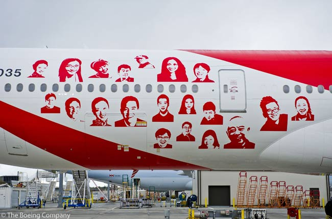 Air China's 10th Boeing 777-300ER, delivered on October 30, 2012, features the faces of people who were selected from a social media campaign co-organized by Air China and Boeing in July 2012