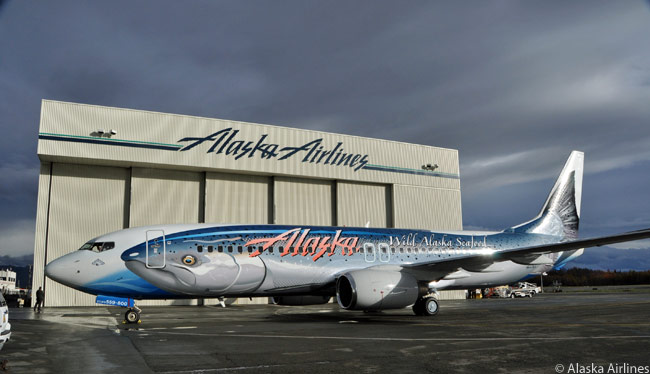 Alaska Airlines painted this Boeing 737-800 in a special, colorful 'Salmon-Thirty-Salmon' livery to promote Alaska's wild seafood industry