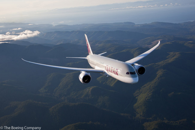 This photograph shows Qatar Airways' first Boeing 787 in flight over the mountains of Washington State. The carrier took delivery on November 12, 2012 of the first of 30 Boeing 787-8s on order. Qatar Airways was the first carrier based in the Middle East to receive a Boeing 787