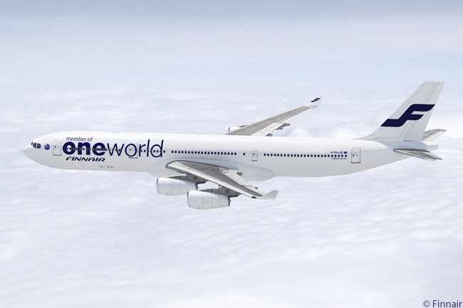 Finnair operates this Airbus A340-300 in a livery in which the carrier displays prominently the fact it is a member of the oneworld alliance