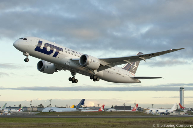 On November 14, 2012, LOT Polish Airlines received the first of eight Boeing 787-8 Dreamliners on order. The carrier is primarily using its Boeing 787s on its transatlantic routes to North America