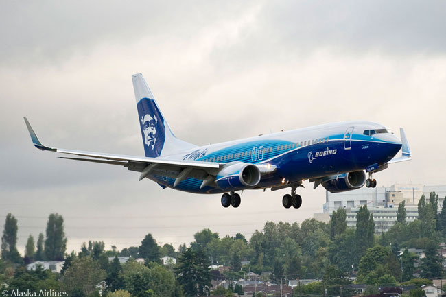 To mark its close association with the city of Seattle, where it is headquartered and based, and also Seattle-based Boeing, Alaska Airlines had this Boeing 737-800 delivered wearing the Boeing house livery but carrying the airline's distinctive Alaskan native face logo on its vertical stabilizer