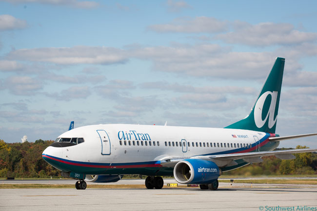 AirTran Airways has a sizable fleet of Boeing 737-700s but these are being absorbed into Southwest Airlines' fleet following Southwest's purchase of and gradual operation incorporation of AirTran. This AirTran 737-700 is photographed at Baltimore/Washington International Airport