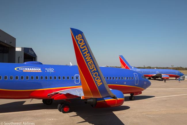 A Southwest Airlines Boeing 737-700 departs Dallas Love Field on a special flight to Orlando, carrying terminally ill children the airline took to Disney World for a holiday
