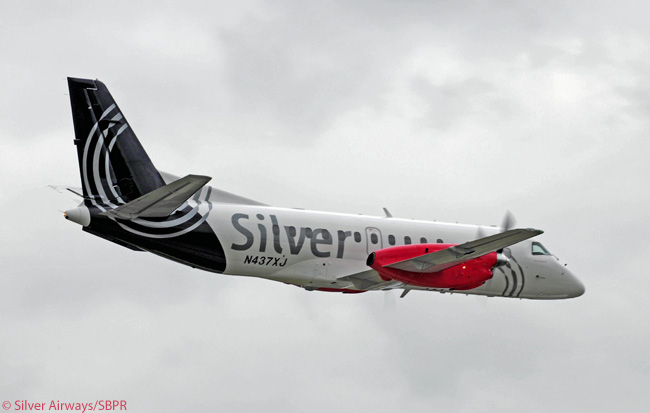 The Saab 340Bplus version flown by Florida-based regional carrier Silver Airways was the last and most advanced model of the Saab 340 regional airliner. The photo is courtesy of Silver Airways/SBPR