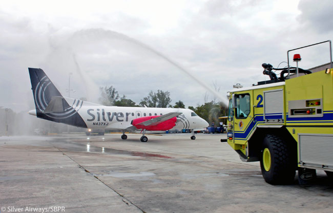 The Saab 340Bplus 34-seat turboprop regional airliner is the flagship of the Silver Airways fleet. By late 2012 the regional airline had 18 of the type in service. The photo is courtesy of Silver Airways/SBPR