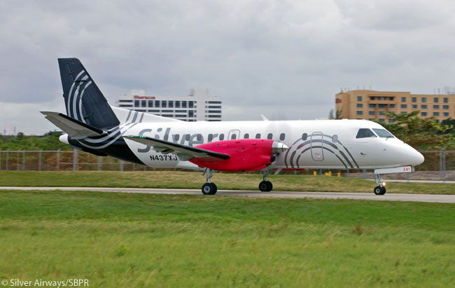 Regional carrier Silver Airways says it serves more destinations in Florida and operates more intra-Florida scheduled flights than any other airline. The photo is courtesy of Silver Airways/SBPR