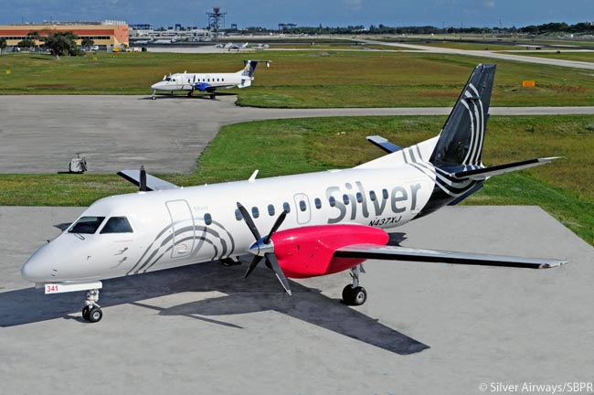 Growing its Saab 340 Bplus fleet rapidly to expand its network in Florida and on routes between Florida and The Bahamas, Silver Airways' colorful livery has become a common sight in Florida's skies. The photo is courtesy of Silver Airways/SBPR