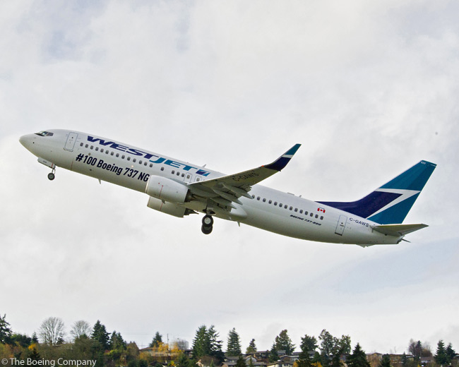 On December 7, 2012, WestJet took delivery of the 100th Boeing 737NG to join the Calgary-based airline's fleet. The aircraft, a Boeing 737-800, was delivered to Newport Beach, California-based leasing company Aviation Capital Group for lease to and operation by by WestJet. This photograph shows WestJet's 100th Boeing 737NG departing Boeing Field in Seattle