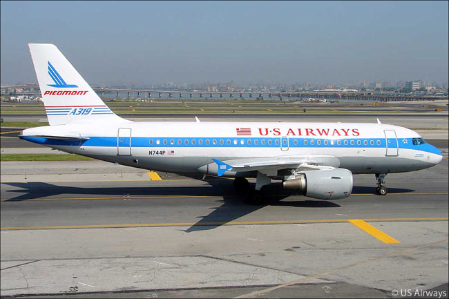 This US Airways Airbus A319 wears the legacy livery of Piedmont Airlines, one of US Airways' forebear carriers