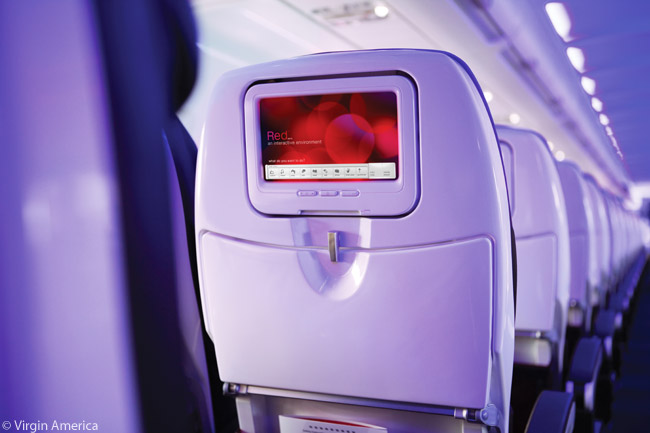 Virgin America's Red in-flight entertainment system features 9-inch seatback screens, even in the economy-class Main Cabin