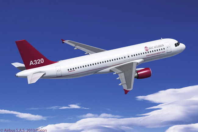 Singapore-based lessor BOC Aviation ordered 25 more A320-family jets and 25 A320neo-family aircraft in December 2012, increasing its total A320-family orders to 181 aircraft. This computer graphic image shows an Airbus A320 with CFM56-5B/P engines, wearing the lessor's house colors