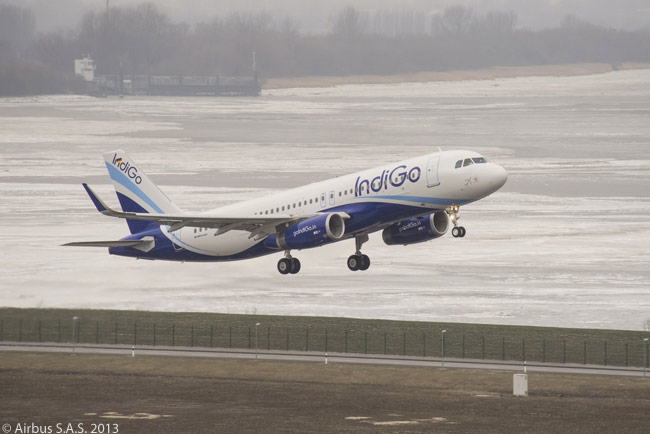 India's largest airline, IndiGo, took delivery on January 28, 2013 of its first Airbus A320 equipped with Sharklet fuel-saving wing-tip devices, becoming the first Indian carrier to do so