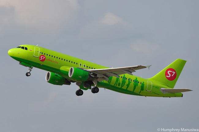 Russia's S7 Airlines, which is the operating name for Siberia Airlines, operates several aircraft types in its unforgettably liveried fleet but the bulk of the fleet is comprised of Airbus A320-family jets, including this Airbus A320