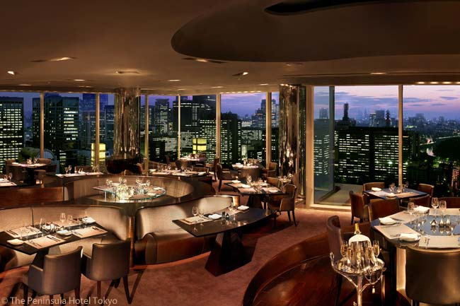 The Peninsula Tokyo has various restaurants. Among them is Peter, which serves French cuisine in a modern interior offering 360-degree views of Tokyo and the Imperial Palace Gardens