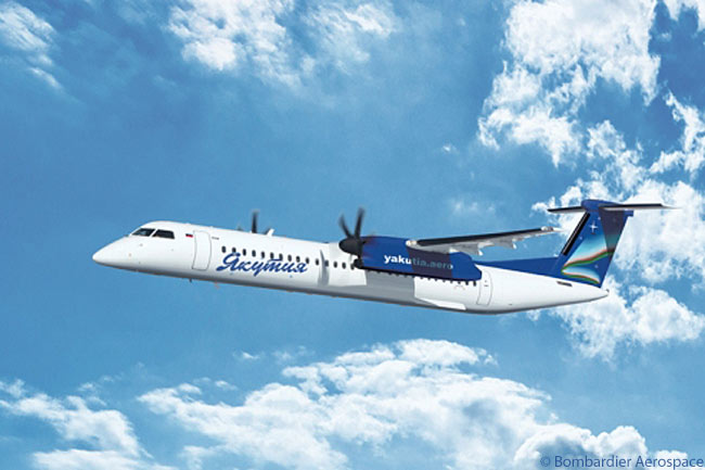 In late January 2013 Yakutia Airlines became the first Russian airline to operate the Bombardier Q400 turboprop regional airliner. Yakutsk-based Yakutia will operate three Q400s, acquired used, to cities located throughout the vast area of Siberia