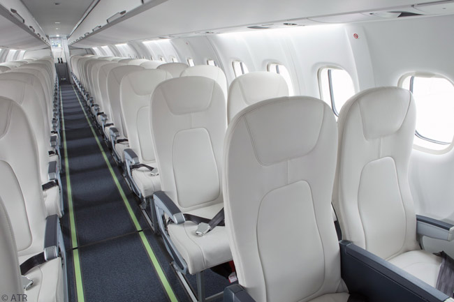 This is the interior of the ATR 72-600 turboprop regional airliner which Maldivian airline Villa Air took on lease from GECAS in early february 2013. The aircraft is configured with a single-class, 66-seat interior
