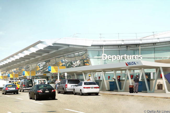 This is a computer graphic image of the passenger drop-off area at Delta Air Lines' new Terminal 4 Concourse B facility at New York JFK