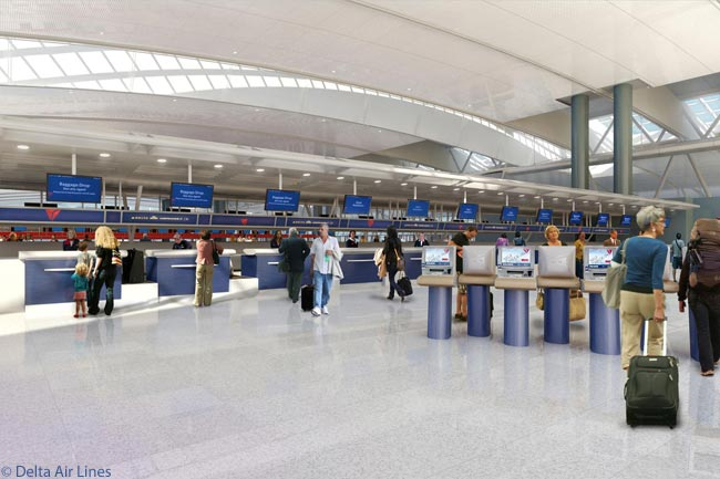 This is a computer graphic image of the check-in lobby area at Delta Air Lines' new Terminal 4 Concourse B facility at New York JFK