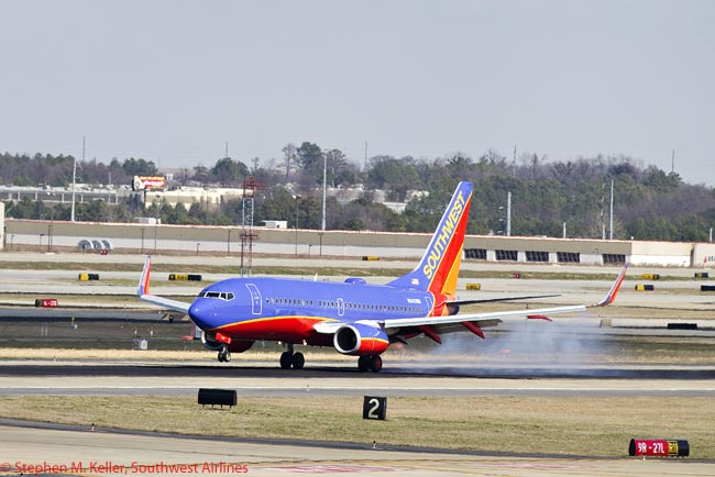 The first Southwest Airlines aircraft ever to operate to Atlanta touches down on February 12, 2012 at Hartsfield-Jackson Atlanta International Airport