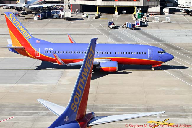 A Southwest Airlines Boeing 737-700 taxis at Hartsfield-Jackson Atlanta International Airport