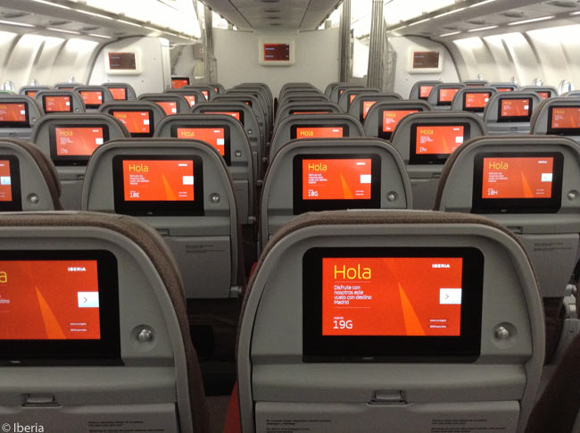 Seat rows in the economy-class cabins of Iberia's Airbus A330-300s are arranged eight-abreast to ensure that no seat is more than one seat away from an aisle