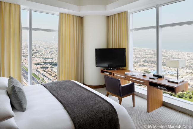 Many of the guestrooms in the JW Marriott Marquis Dubai have spectacular views over the city of Dubai